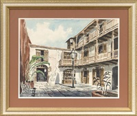 french quarter courtyard by rolland harve golden