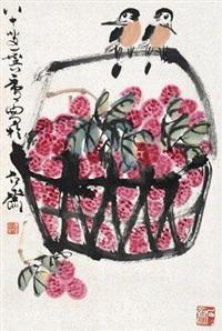 花鸟 立轴 设色纸本 by xu linlu