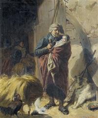 grossvater mit kind vor der scheune by otto edmund gunther