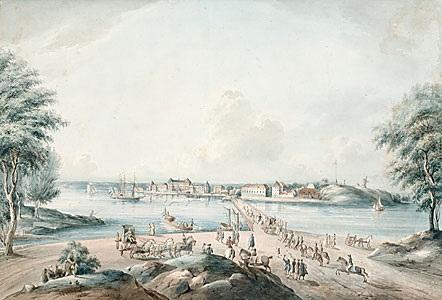 kongl lust slottet drottningholm from svenska vuer by johan fredrik martin