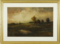 pastoral landscape with grazing cattle by paul r. koehler