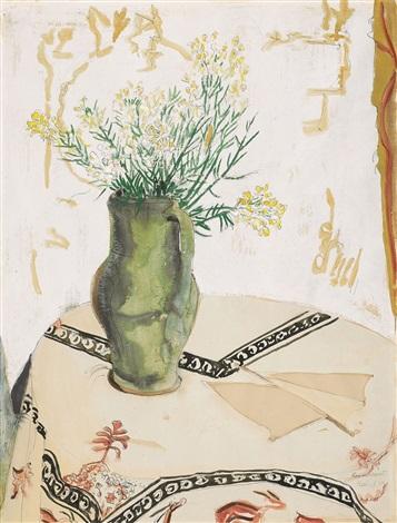 vase mit leinkraut by erich heckel