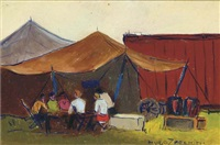 at the circus (+ 1 other, watercolor; 2 works) by hugo zacchini