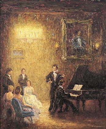 hauskonzert mit klavier und geige vor festlichem publikum in einem großen, von kerzen erhellten raum by hans gabler