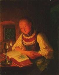 frau in tracht, bei kerzenschein ein buch lesend by friedrich simon