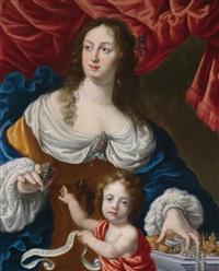 bildnis der vittoria della rovere, großherzogin von toskana - allegorie des großmuts by cesare dandini