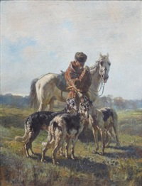 dismounted hunter with dogs by rudolf feodorovich frentz