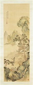 mountainous landscape, the corner of a stone wall supporting a finely detailed pavilion behind a cover of mist and a single tall pine tree by bai zongwei
