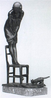 figure of a young woman standing on a chair by monaco