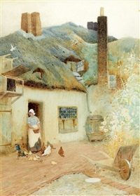 maid feeding hens before a cottage (+ another; 2 works) by arthur claude strachan
