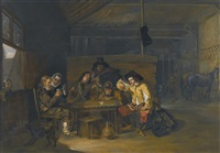 a tavern interior with cavaliers and peasants playing cards by herman van lin