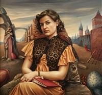 portrait einer dame mit buch by marek naszczak