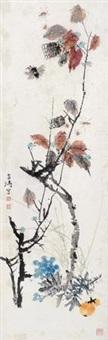 虫草花卉 镜框 设色纸本 by wang xuetao