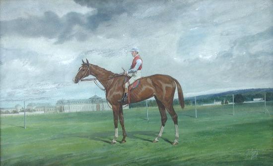 """little agnes"", a chestnut racehorse, with corringham up by jonny audy"