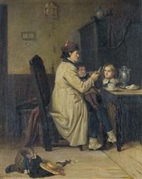 interieur mit vater und seinen kindern by otto edmund gunther