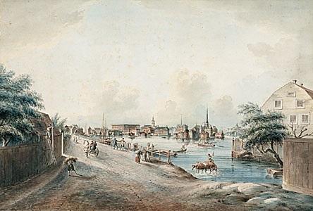 utsigt af stockholmn tagen från kungsholmen from svenska vuer by johan fredrik martin