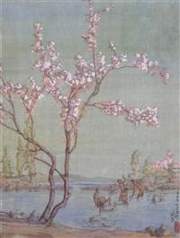 桃花河畔 绢本 水彩 by guan liang