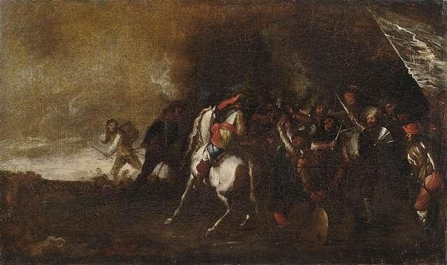 schlachtgetümmel mit reiter und infanterie by cornelis de wael
