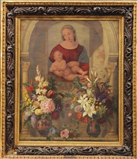 an altar with two bouquets in ancient greek vases before a painting of madonna and child by adolf (carl) senff