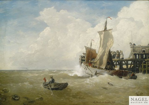 fischerboot am anleger by andreas achenbach