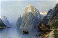 sommerlicher fjord mit dampfschiff und fischern by carl bertold