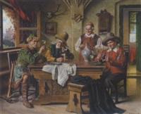 genießende landsknechte in der wirtsstube by emil kuhlmann-reher