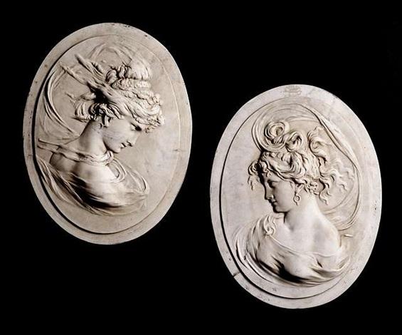 zwei marmorreliefs als gegenstücke gearbeitet by louis alexandre bottée