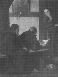 franziskanermönche diskutieren über eine alte schriftrolle by gustav salingré