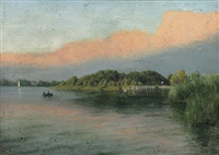 abendliche chiemsee-landschaft by richard peisker-kreuschner