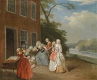 eine elegante gesellschaft bei einem gemüseverkäufer by pieter angillis