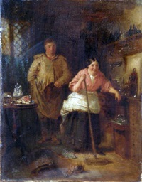 interior scene with figures by john morgan