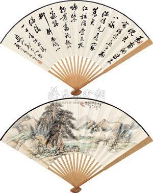 松溪觅句 landscape and calligraphy in running script recto verso by wang kun