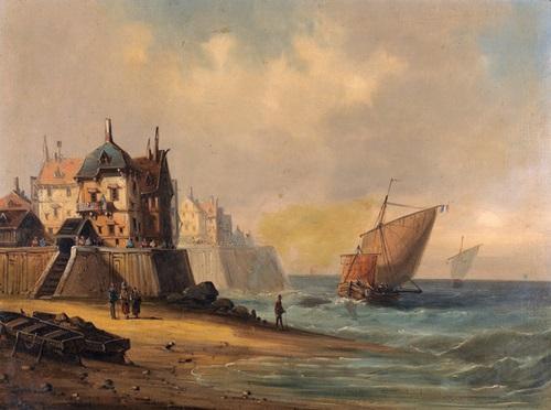 küstenpartie mit segelbooten und einer stadt by a gins