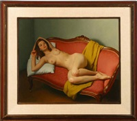 nude reclining on victorian settee by jesse corsaut