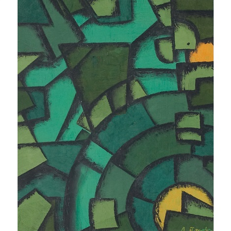 green abstract by liubov popova