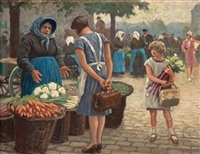 at the market, copenhagen by paul gustave fischer