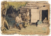 a peasant repairs his scythe, summer (+ study of an eagle, verso) by vassily ivanovich navozov