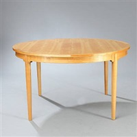 circular dining table with three extention leaves with rail by niels roth andersen
