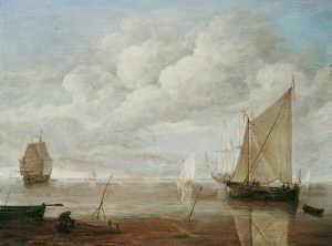 segelschiffe in küstennahem gewässer by lieve pietersz verschuier