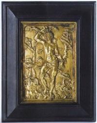 der hl. sebastian, umrahmt von seiner rüstung, seinem helm und bäumen by moderno