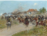 a french cavalry charge by louis raoul arus