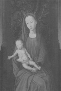 thronende madonna mit christuskind vor einer mit stoff bezogenen balustrade by hans memling