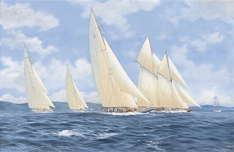 westward and yankee leading the fleet with britannia and shamrock astern by john j holmes