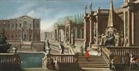 blick auf eine villa mit brunnen, garten und eleganten figuren by francesco battaglioli