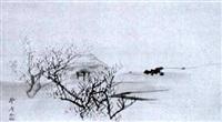 strohgedeckte hütte an einer küste im frühling by okamoto toyohiko