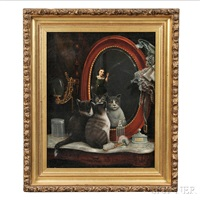 portrait of two cats in front of a mirror in a victorian bedroom by american school (19)