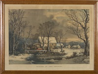 winter in the country, the old grist mill by george henry durrie