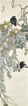 two crows and wisteria by ren yi