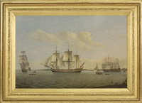 the east indiaman king george, in three positions on the thames river off greenwich by thomas luny