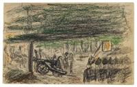 apell vor einer kanone, kowno (litauen) (from sketchbook) by marianne werefkin